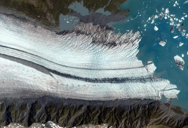 Satellite image of the Bear Glacier on the Kenai Peninsula along the Gulf of Alaska