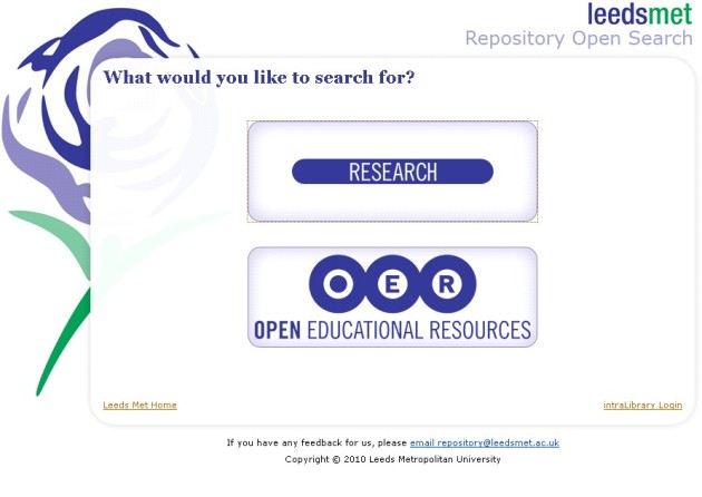 Leeds met Open Search splash page